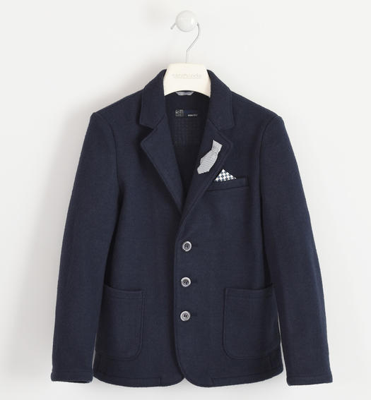 Shuttle weaving jacket with boiled wool effect for boys from 6 to 16 years Sarabanda NAVY-3885