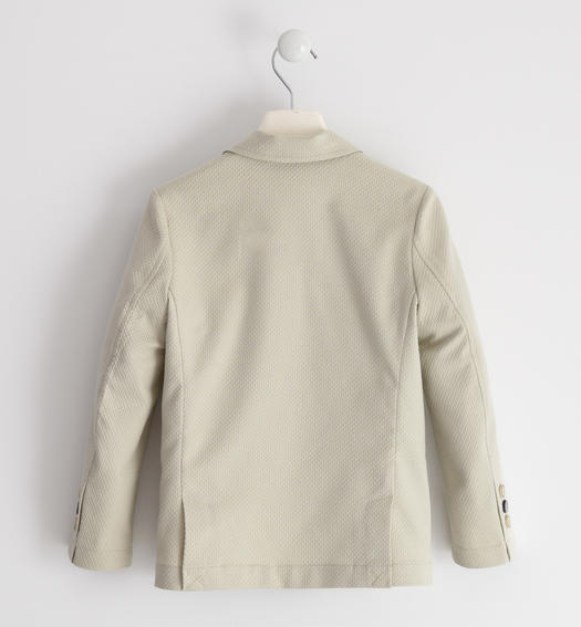 Elegant jacket in textured cotton fabric for boy from 6 to 16 years Sarabanda BEIGE-0435