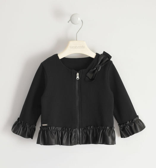 Elegant jersey jacket with faux leather flounce for girl from 6 months to 7 years Sarabanda NERO-0658