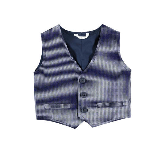Elegant pinstripe vest for baby boy in cotton blend for newborn from 0 to 24 months Minibanda NAVY-3854