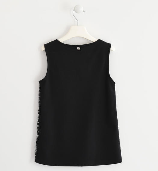 "Vest ""Chanel"" effect fabric on the front for girls from 6 to 16 years Sarabanda NERO-0658"