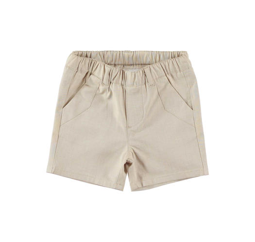 Elegant short Summer trousers in cotton for newborn from 0 to 24 months Minibanda BEIGE-0436