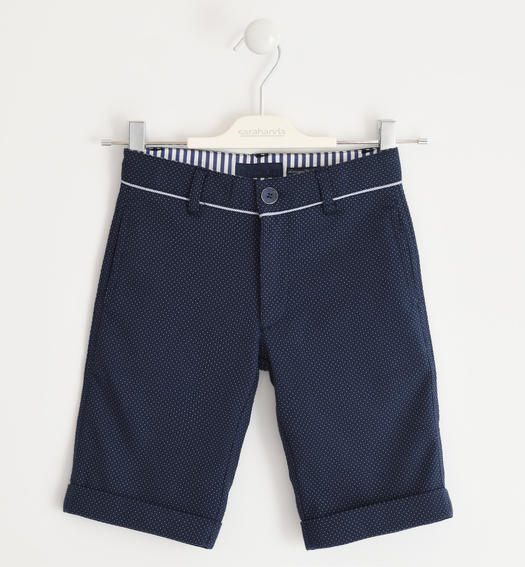 Elegant micro patterned short trousers for boy from 6 to 16 years Sarabanda NAVY-3885