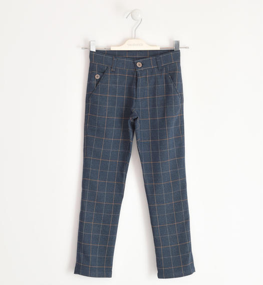 Elegant checked print trousers for boy from 6 to 16 years Sarabanda BLU-BEIGE-8030