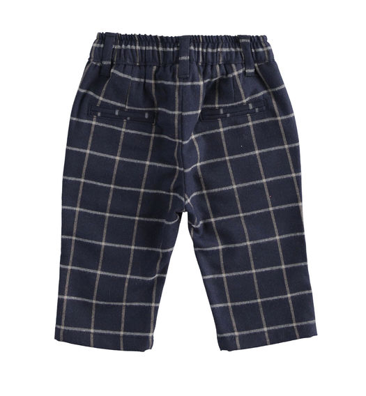 Elegant checked twill-effect fabric trousers for newborn boy from 0 to 24 months Minibanda NAVY-3854