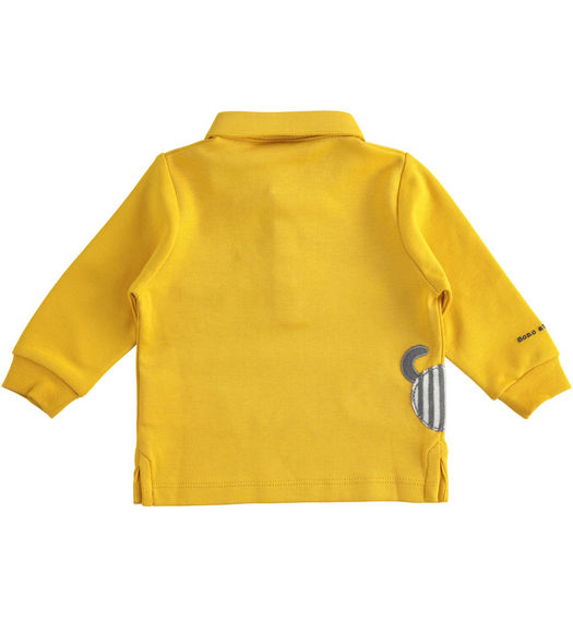 Elegant polo shirt in 100% cotton interlock for newborn boy from 0 to 24 months Minibanda GIALLO-1615