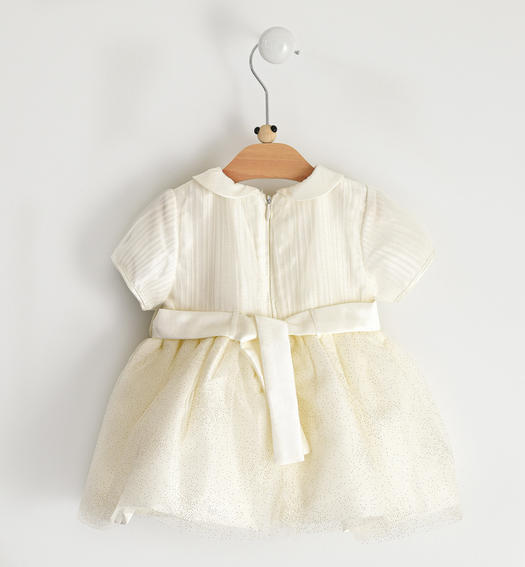 Elegant dress with tulle skirt for newborn girl from 0 to 24 months Minibanda PANNA- GOLD GLITTER-6X17