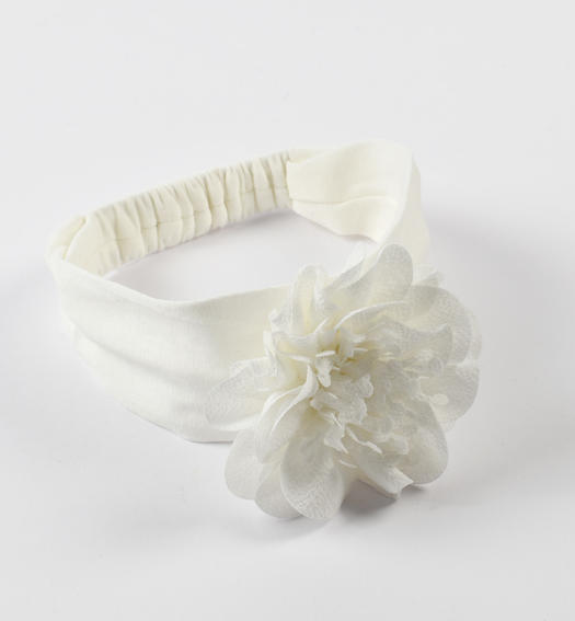 Newborn cream headband with flower with organza and tulle petals for baby girl from 0 to 24 months Minibanda PANNA-0112