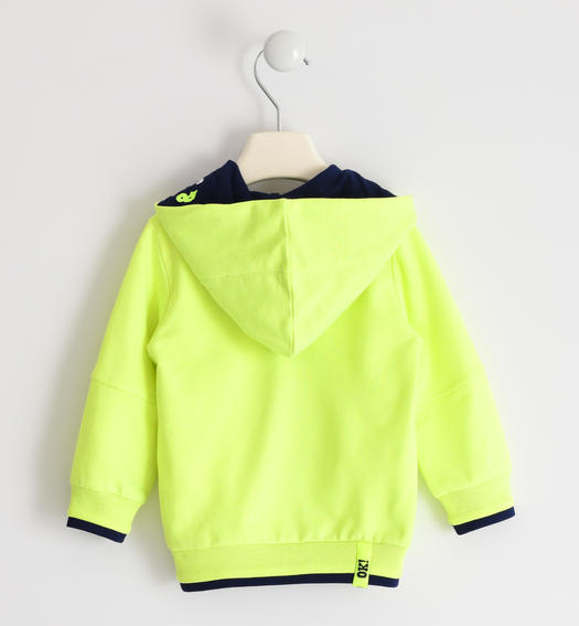 Sarabanda hooded sweatshirt with a number for boy from 6 months to 7 years VERDE FLUO-5834