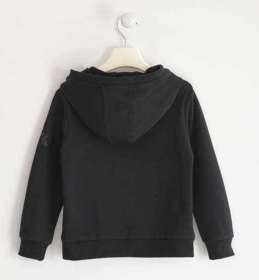 Hooded sweatshirt with fake pocket for boy from 6 to 16 years Sarabanda NERO-0658