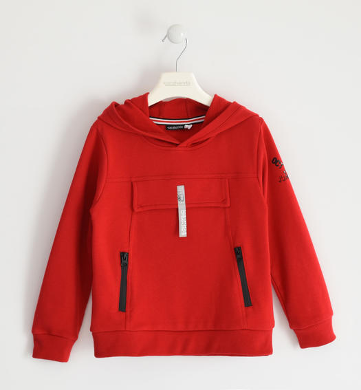 Hooded sweatshirt with fake pocket for boy from 6 to 16 years Sarabanda ROSSO-2253
