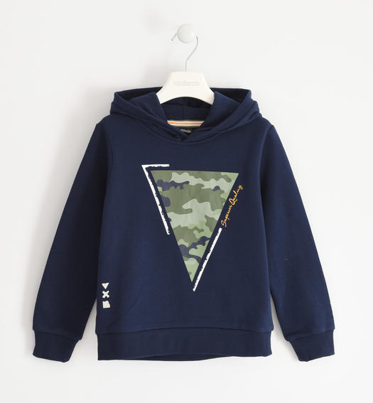 Hooded sweatshirt with camouflage print for boy from 6 to 16 years Sarabanda NAVY-3854