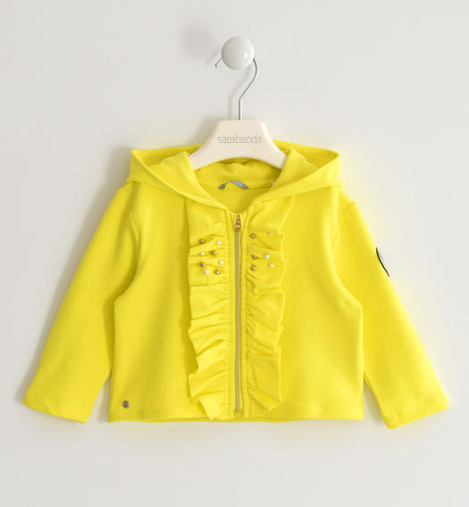 Sarabanda sweatshirt with ruffles and heart of sequins for girl from 6 months to 7 years GIALLO-1434