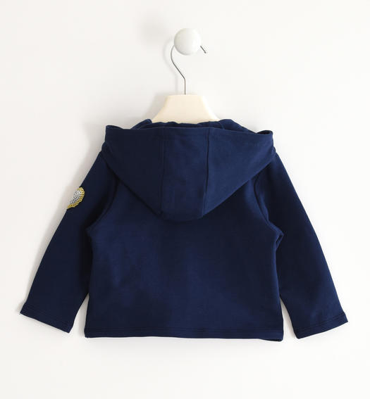 Sarabanda sweatshirt with ruffles and heart of sequins for girl from 6 months to 7 years NAVY-3854