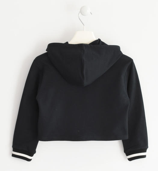 Sweatshirt with a print illuminated by rhinestones and pearls for girls from 6 to 16 years Sarabanda NERO-0658