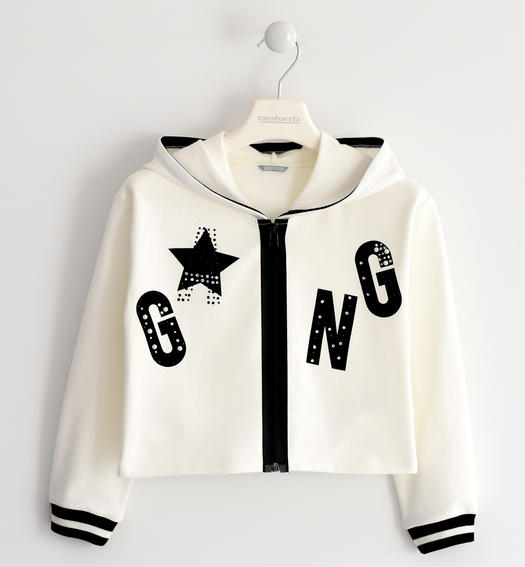 Sweatshirt with a print illuminated by rhinestones and pearls for girls from 6 to 16 years Sarabanda PANNA-0112