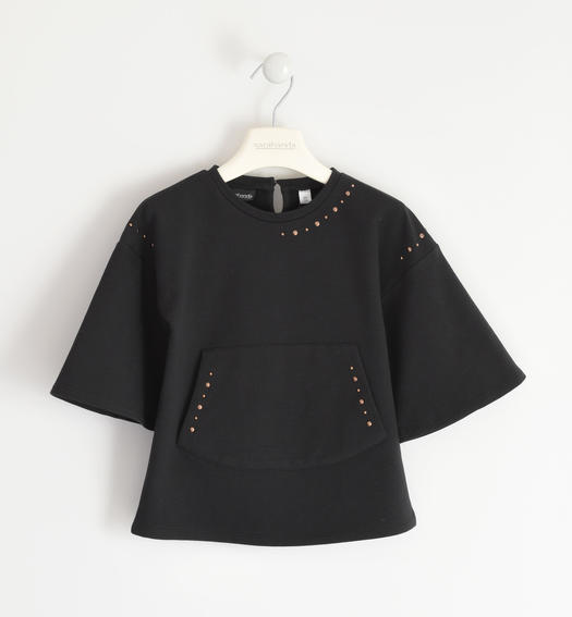 Sweatshirt with pouch pocket and studs for girl from 6 to 16 years Sarabanda NERO-0658