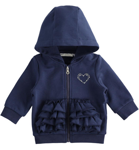 Full zip sweatshirt with flounces for newborn girl from 0 to 24 months Minibanda NAVY-3854