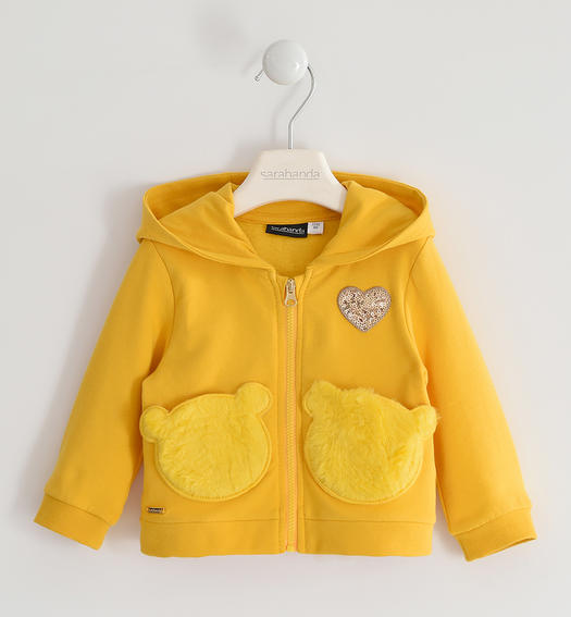 Full zip sweatshirt with heart and teddy bear pockets for girl from 6 months to 7 years Sarabanda GIALLO-1615