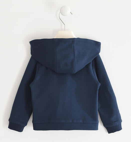 Full zip sweatshirt with heart and teddy bear pockets for girl from 6 months to 7 years Sarabanda NAVY-3885