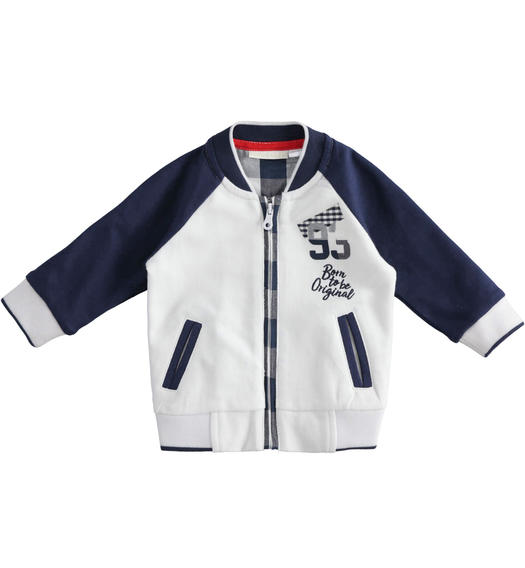 Full zip bomber sweatshirt for baby boy 100% cotton from 0 to 24 months Minibanda NAVY-3854