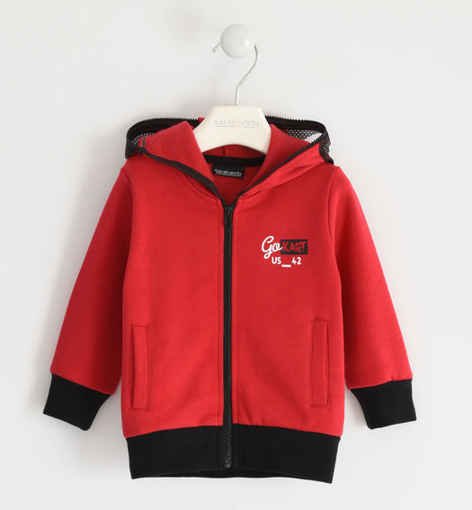 Brushed sweatshirt with zip and hood with transparency for boy from 6 months to 7 years Sarabanda ROSSO-2253