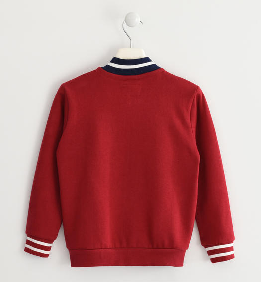 Internally brushed sweatshirt with sponge effect graphics for boys from 6 to 16 years Sarabanda ROSSO-2536