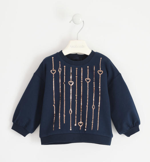 Round neck sweatshirt with sequin embroidery for girl from 6 months to 7 years Sarabanda NAVY-3885