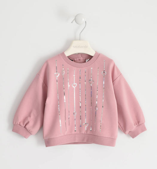 Round neck sweatshirt with sequin embroidery for girl from 6 months to 7 years Sarabanda ROSA-3031