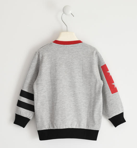 Jersey round neck sweatshirt with relief graphics for boy from 6 months to 7 years Sarabanda GRIGIO MELANGE-8992