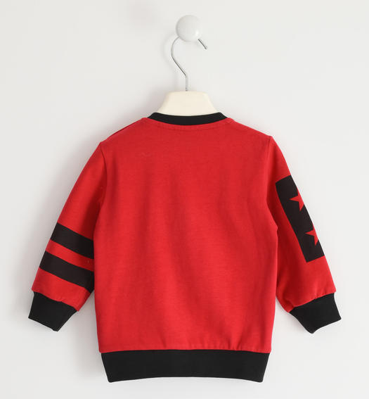 Jersey round neck sweatshirt with relief graphics for boy from 6 months to 7 years Sarabanda ROSSO-2253