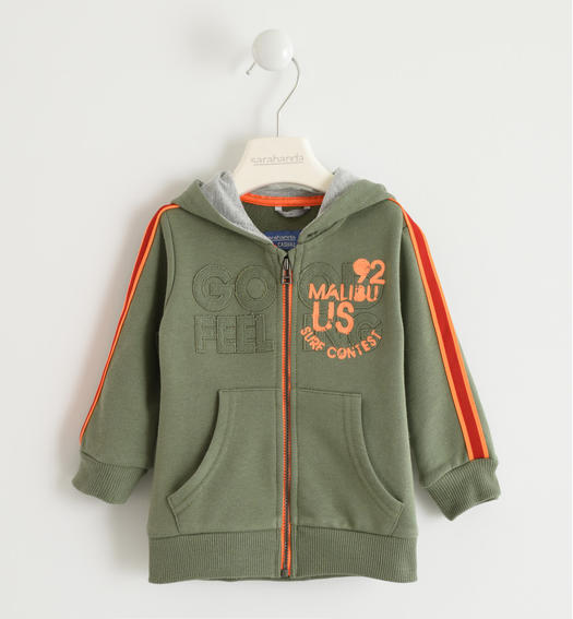 Light cotton sweatshirt with fluorescent details for baby boys from 6 months to 7 years Sarabanda VERDE SALVIA-4731