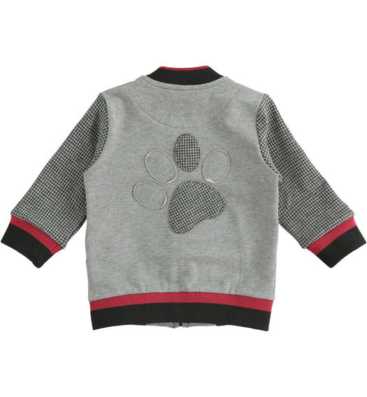 Full zip sweatshirt without hood made of a mix of materials for newborn from 0 to 24 months Minibanda GRIGIO MELANGE-8993