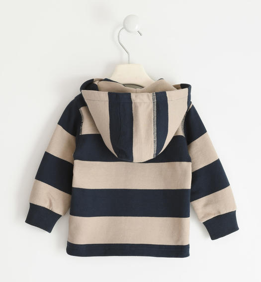 Striped sweatshirt in 100% organic cotton with BIO capsules for boy from 6 months to 7 years Sarabanda BEIGE-0437