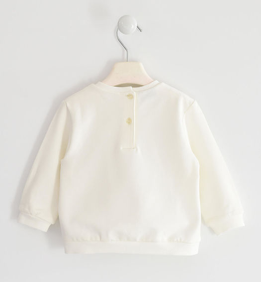 Brushed round neck sweatshirt with bows for girl from 6 months to 7 years Sarabanda PANNA-0112