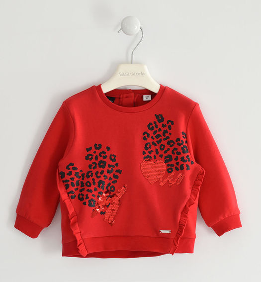 Brushed round neck sweatshirt with bows for girl from 6 months to 7 years Sarabanda ROSSO-2253