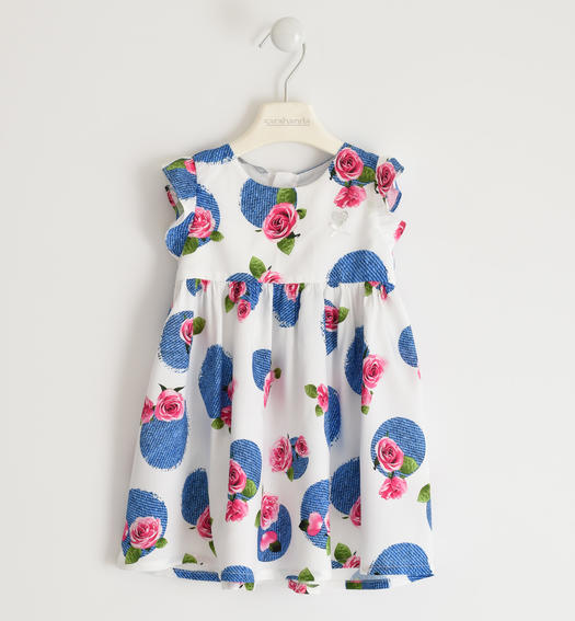 Fresh and soft viscose dress with floral print for baby girl from 6 months to 7 years Sarabanda BIANCO-INDIGO-6MV1