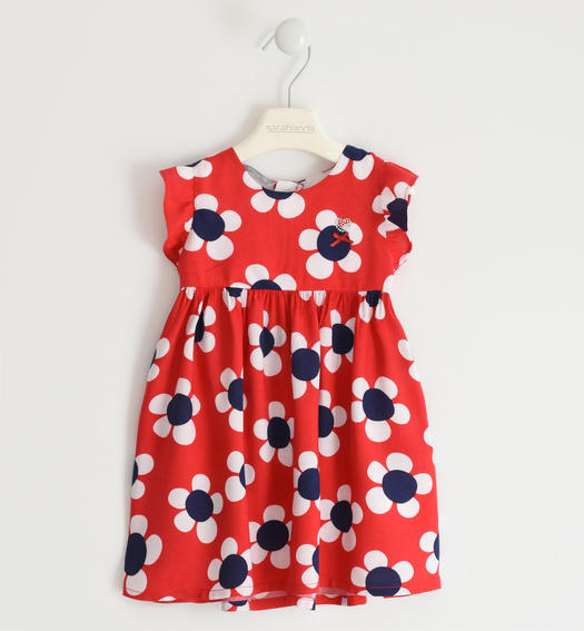 Fresh and soft viscose dress with floral print for baby girl from 6 months to 7 years Sarabanda ROSSO-NAVY-6MU8