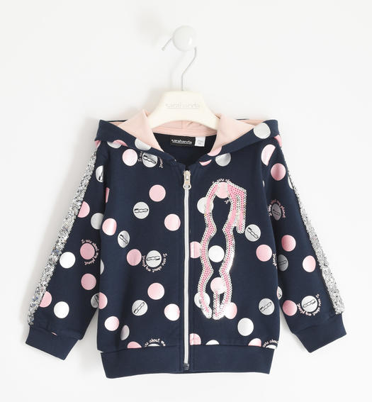"Full zip with hood in organic cotton fleece ""Sarabanda interprets 500e"" for girl from 6 months to 7 years Sarabanda NAVY-ROSA-6QL1"