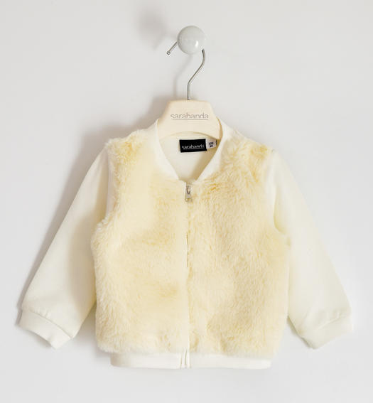 Full zip in faux fur for girl from 6 months to 7 years Sarabanda PANNA-0112