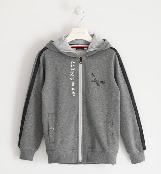Full zip in brushed fleece with grosgrain on the sleeve for boy from 6 to 16 years Sarabanda GRIGIO MELANGE-8993