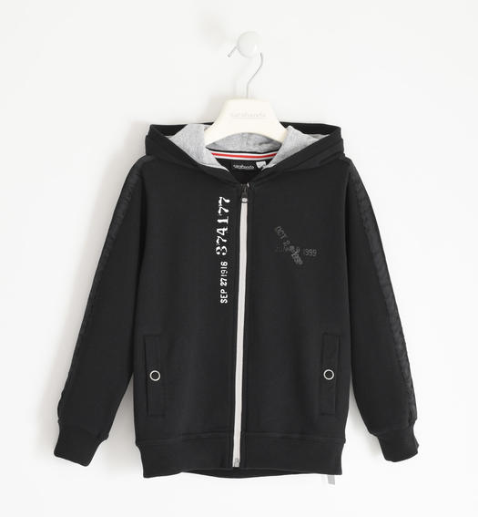 Full zip in brushed fleece with grosgrain on the sleeve for boy from 6 to 16 years Sarabanda NERO-0658