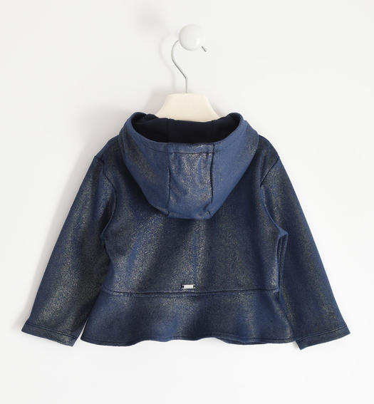Full zip in glitter suede effect fabric for girl from 6 months to 7 years Sarabanda NAVY-3885