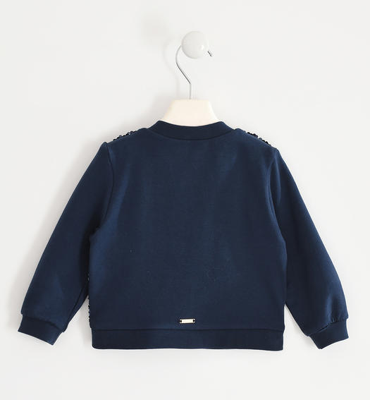Full zip for girl with sequin fabric from 6 months to 7 years Sarabanda NAVY-3885