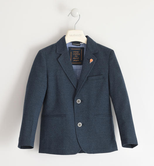 Classic jacket with brooch for boy from 6 to 16 years Sarabanda NAVY-3885
