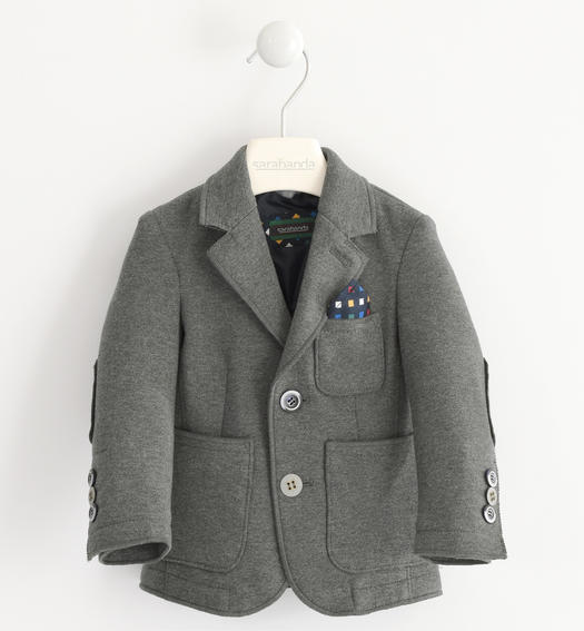 Cut Mesh jacket with patch pockets on the front for baby boys from 6 months to 7 years Sarabanda GRIGIO MELANGE SCURO-8994