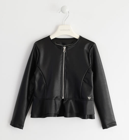 Faux leather jacket for girls from 6 to 16 years Sarabanda NERO-0658