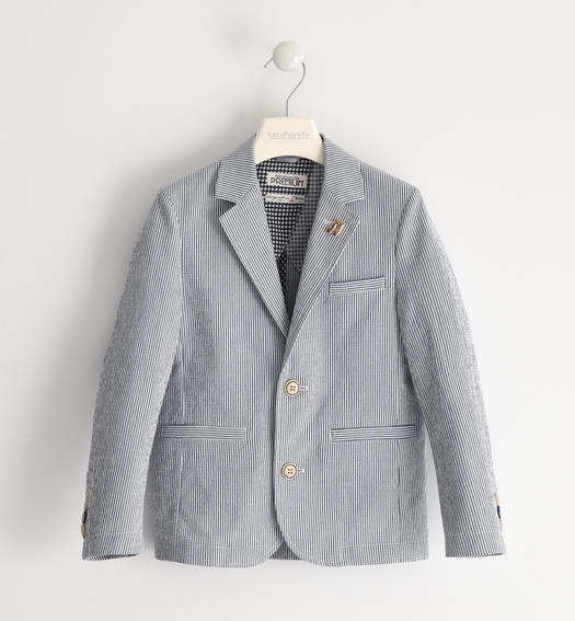 Sarabanda striped seersucker jacket for boy from 6 to 16 years GRIGIO-3564