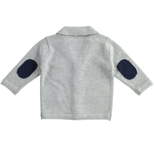 Cardigan jacket of cotton, viscose and cashmere blend tricot for newborn from 0 to 24 months Minibanda GRIGIO MELANGE-8992