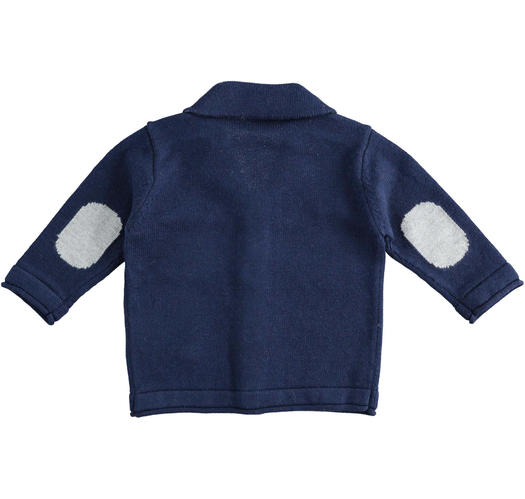 Cardigan jacket of cotton, viscose and cashmere blend tricot for newborn from 0 to 24 months Minibanda NAVY-3854